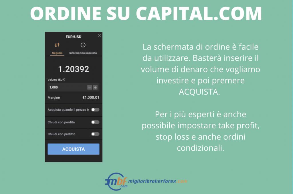 Ordine di prova EUR/USD su Capital.com